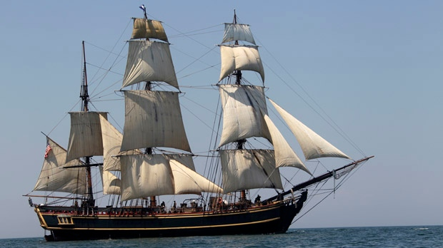 In this July 7, 2010, file photo, the tall ship HMS Bounty sails on Lake Erie off Cleveland. (AP Photo/Mark Duncan, File)