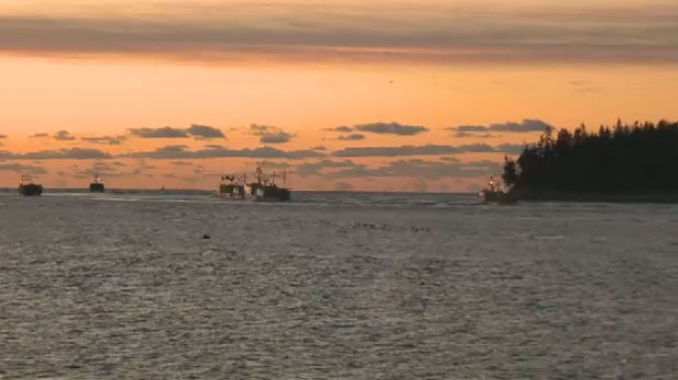 About a dozen lobster boats left Eastern Passage early Tuesday to set their traps.