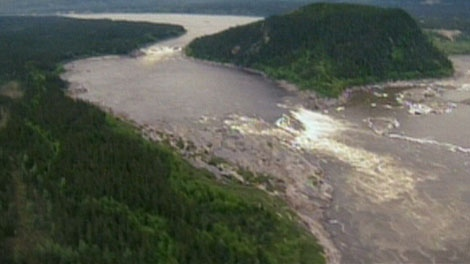 This image taken from video shows Muskrat Falls, Labrador, the area where the multi-billion dollar project will be built.