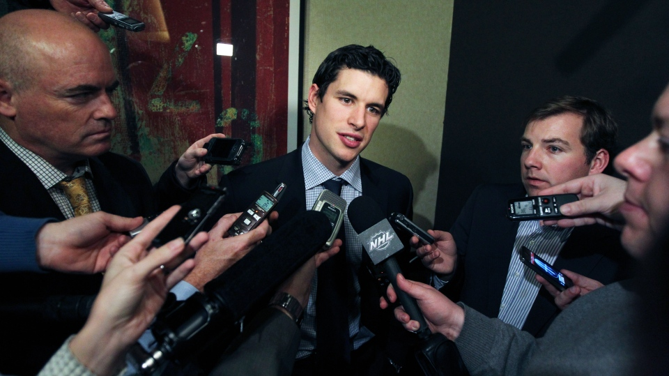 Pittsburgh Penguins' Sidney Crosby speaks to reporters in New York Thursday, Dec. 6, 2012 in New York. (AP / Mary Altaffer)