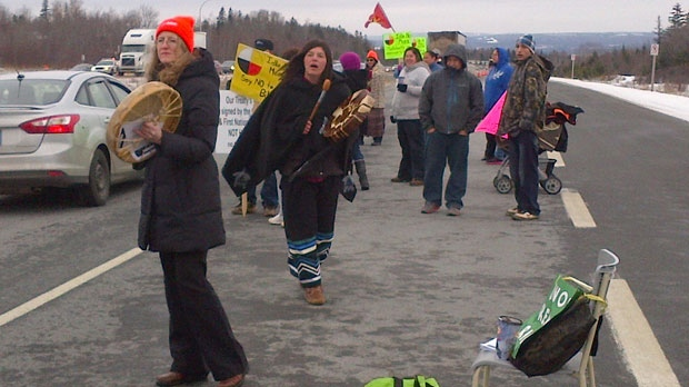Protesters are slowing traffic along Highway 102 in the Truro area.
