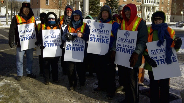 Faculty and support staff are on strike at St. Francis Xavier University, prompting the university to postpone classes.