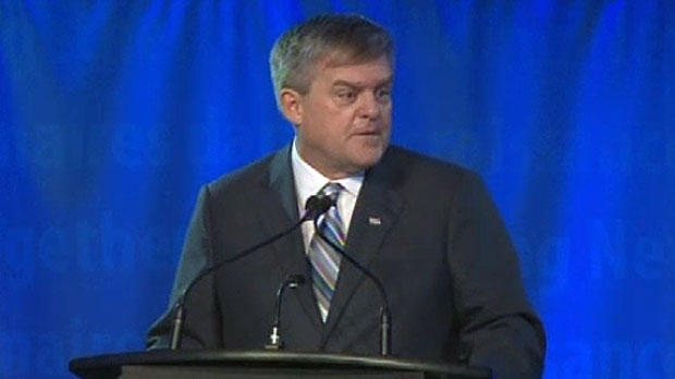 New Brunswick Premier David Alward makes his annual state of the province address on Jan. 31, 2013.