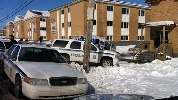Police are on the scene at this apartment building on Herring Cove Road after a woman was stabbed.