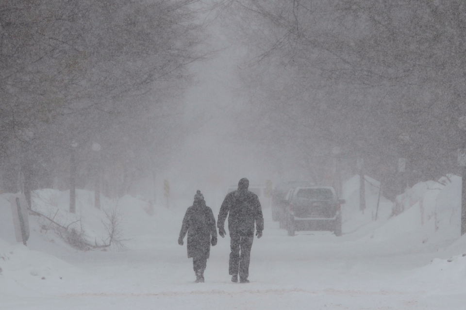 Pedestrians walk down a road during a snowstorm in Ottawa Friday, Feb. 8, 2013. (Adrian Wyld / THE CANADIAN PRESS)