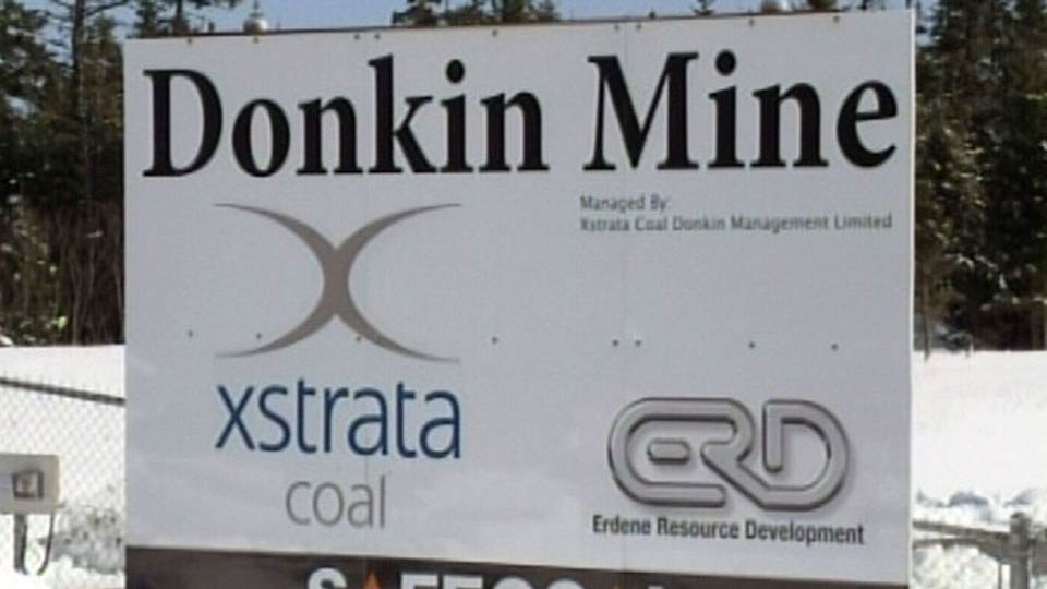 A sign for the Donkin mine is seen in this image taken from video.