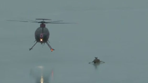 Ian Waugh captured a video of a Department of Natural Resources helicopter rescuing a deer trapped on thin ice.