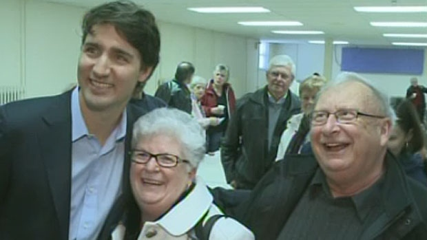 Liberal party leadership candidate Justin Trudeau poses for pictures during a campaign stop in Saint John on Tuesday, February 26, 2013. (CTV Atlantic)