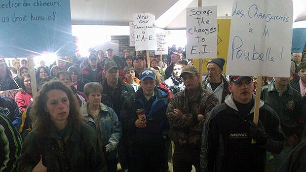 Demonstrators gather in Shediac, N.B. to protest changes to the employment insurance program on Wednesday, February 27, 2013.