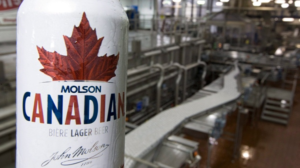A can of Molson Canadian is seen in front of the can line at the Molson Breweries in Vancouver, Tuesday, Jan. 26, 2010. (THE CANADIAN PRESS/Jonathan Hayward)