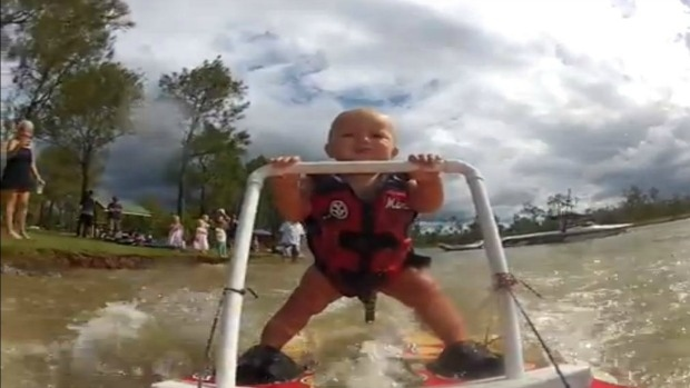 A 7.5 month old learns to water ski...