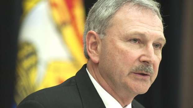 New Brunswick Finance Minister Blaine Higgs talks during a pre-budget news conference in Fredericton on Tuesday, March 22, 2011. (David Smith/ THE CANADIAN PRESS)