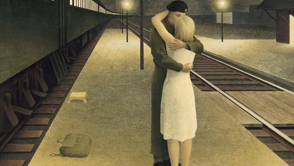 Soldier and Girl at Station, a painting by Alex Colville, dated 1953, glazed tempera on board. The piece is one of two masterworks, once lost, resurface at auction Monday decades after mysteriously disappearing into private collections. (Ritchies Auctioneers / Canadian Press)