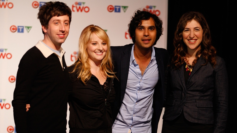 From left to right: Simon Helberg, Melissa Rauch, Kunal Nayyar and Mayim Bialik, cast of 'The Big Bang Theory,' appear during CTV's Upfront presentation in Toronto, Thursday, June 2, 2011.