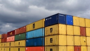 In this March 1, 2013 file photo, containers sit in stacks after being unloaded from a ship at the Port of Baltimore's Seagirt Marine Terminal in Baltimore. (AP / Patrick Semansky)