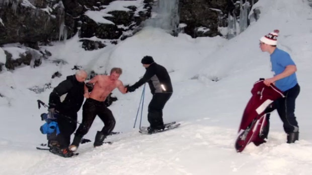 A group of cross-country skiers helped save Julien Rouleau after he fell into the icy waters at Cape Breton's Uisge Ban Falls. (Photo courtesy of Cody Delaney.)