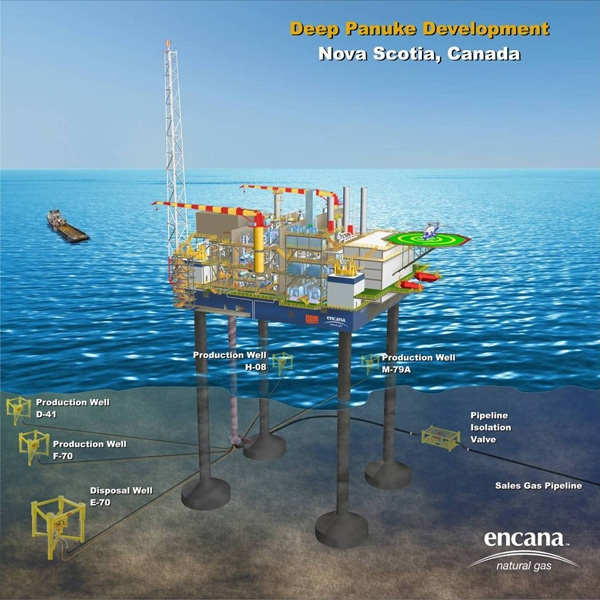 An artist rendering of the Deep Panuke production platform, located 250 km southeast of Halifax on the Scotian Shelf.