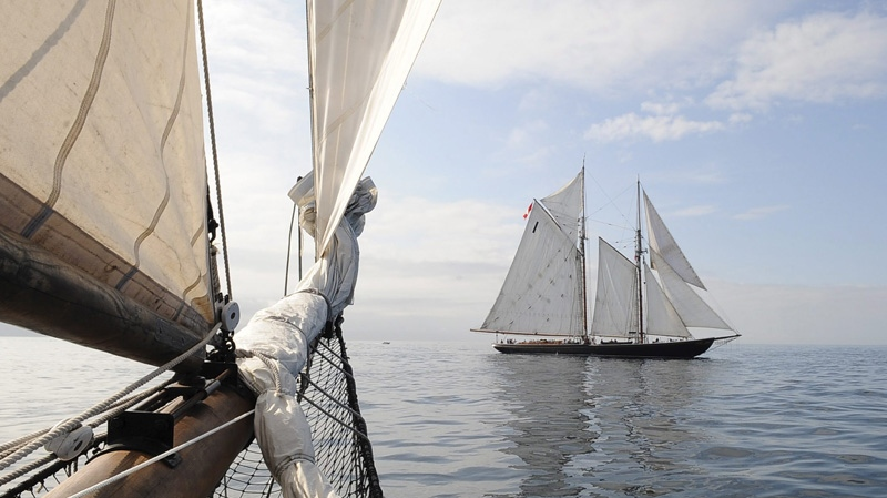 The schooner Bluenose II, of Lunenburg, Nova Scotia, Canada, is seen off the bow of the schooner Thomas E. Lannon, of Gloucester, Mass., Friday, Aug. 29, 2008. (AP / Lisa Poole)