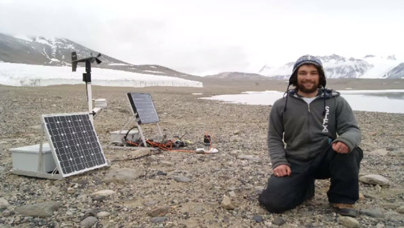 While in Antarctica, research student Chris MacIntyre used an instrument he helped develop at St. FX to measure gas emissions from soil samples. (Chris MacIntyre)