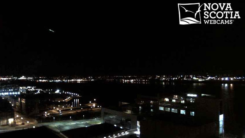A Halifax webcam captured a bright light shooting across the sky at 5:17 a.m. Wednesday. (Nova Scotia Webcams)