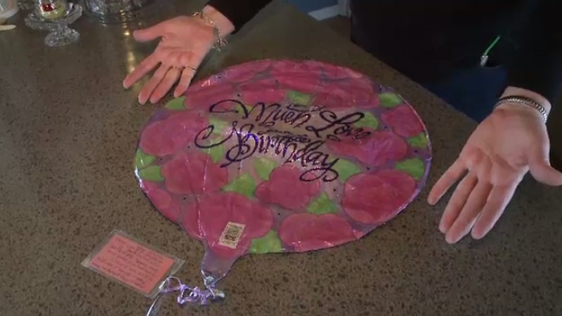 This special birthday balloon and card made an impressive journey from Ohio to Nova Scotia after being released in February. (CTV Atlantic)