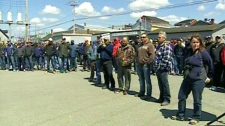 Hundreds of fishermen gathered at the Yarmouth waterfront for a rally organized by the Professional Lobster Fishermen's Association, Sunday, April 29, 2012.