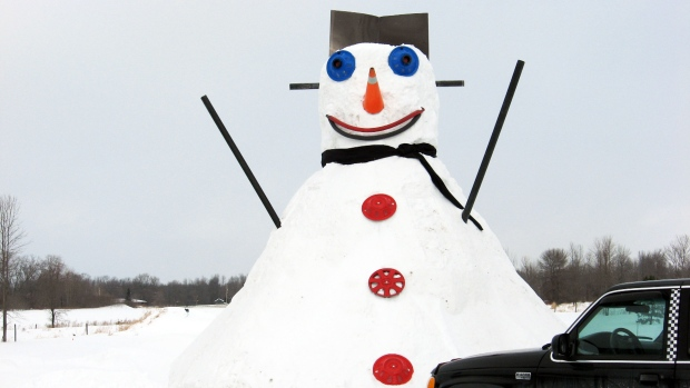 Snow got deeper so I thought I would do something with it. I made a 20ft snow man and it got a slide for my grand kids to play on in the back of it (Peter Swales / MyNews)