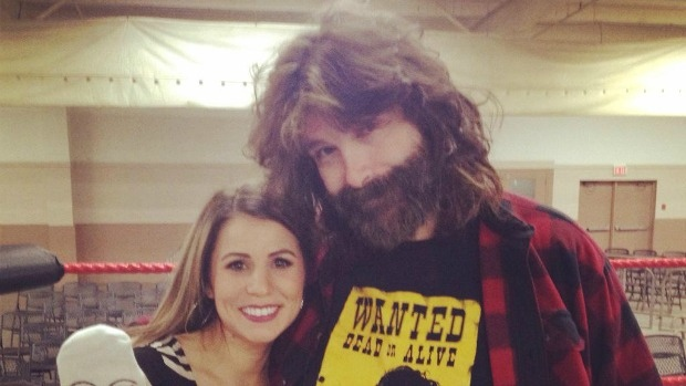 Former WWE champion Mick Foley gives Ana Almeida pointers on her wrestling moves.