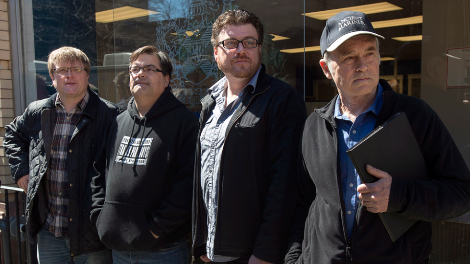 Trailer Park Boys cast Mike Smith, Patrick Roach, Robb Wells and John Dunsworth, left to right, join other members of Nova Scotia's film and television industry in a protest outside the legislature in Halifax on Wednesday, April 15, 2015. (THE CANADIAN PRESS/Andrew Vaughan)