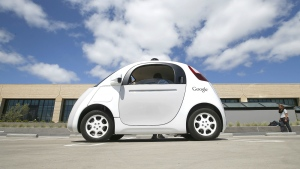 Google's new self-driving prototype car is presented during a demonstration at the Google campus in Mountain View, Calif. on May 13, 2015. (AP / Tony Avelar)