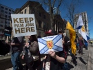 Members of Nova Scotia's film and television industry protest outside the legislature in Halifax on Wednesday, April 15, 2015. (Andrew Vaughan/THE CANADIAN PRESS)