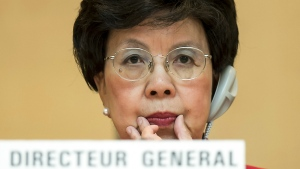 World Health Organization Director-General Dr. Margaret Chan waits for the opening of the 67th World Health Assembly at the European headquarters of the United Nations in Geneva, Switzerland on May 19, 2014. (Jean-Christophe Bott / Keystone)