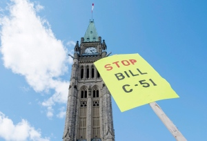 Protest on Parliament Hill in Ottawa, during a day of action against Bill C-51, on April 18, 2015. (Justin Tang / The Canadian Press)