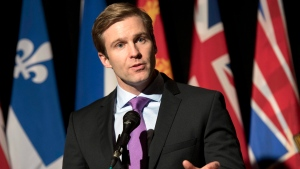 New Brunswick Premier Brian Gallant speaks to reporters before a press conference with premiers hosted by the Council of The Federation in Ottawa on Monday, Nov. 23, 2015. (THE CANADIAN PRESS/Justin Tang)