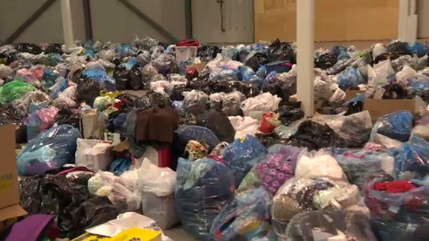 Donations poured in for Syrian refugees at the Rona in Bayers Lake on Tuesday.