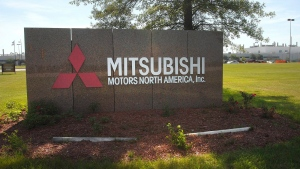 This July 24, 2015 photo shows a sign outside the Mitsubishi Motors North America plant in Normal, Ill. (David Proeber / The Pantagraph via AP)