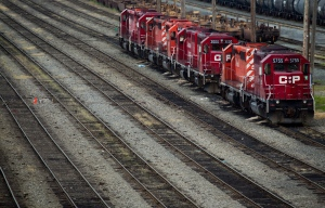 Canadian Pacific Rail locomotives sit idle at the company's Port Coquitlam yard east of Vancouver, B.C., on May 23, 2012. (Darryl Dyck/THE CANADIAN PRESS)