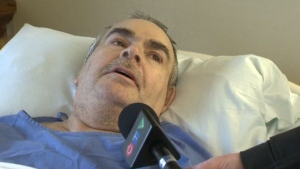 Cameron Conrad, 57, speaks to CTV News following his arrival in Nova Scotia.