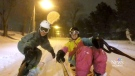 Halifax skiers and snowboarders film themselves riding through Monday's blizzard.