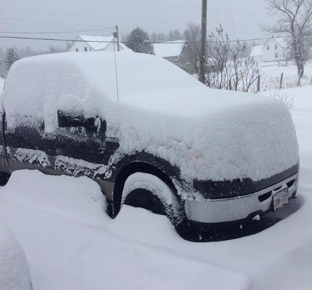 It didn't look like this everywhere yesterday, but it's what Brenda Gulliver Curtis was up against in Sunny Corner NB!