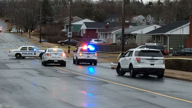 Police on the scene of a suspicious death in Dartmouth.