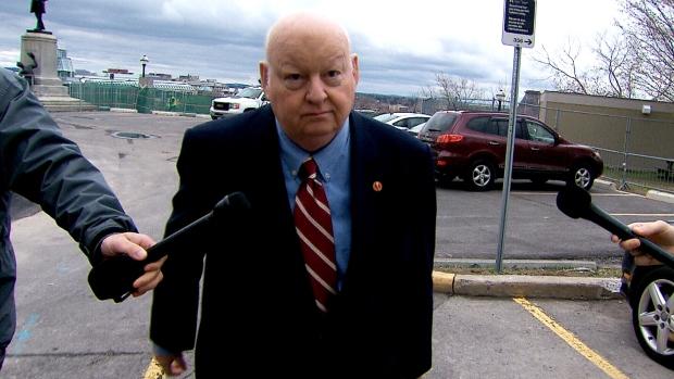 Senator Mike Duffy returns to Parliament Hill on Monday, May 2, 2016.