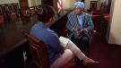 Kayla interviews Liberia's President, Her Excellency Ellen Johnson Sirleaf. (George Reeves)