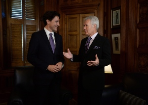 Prime Minister Justin Trudeau meets with Jeopardy game host Alex Trebek in his office on Parliament Hill in Ottawa on Thursday, May 5, 2016. (THE CANADIAN PRESS/Sean Kilpatrick)