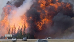 A wildfire rips through the forest by Highway 63, south of Fort McMurray, Alta., on Saturday, May 7, 2016. (Jonathan Hayward / THE CANADIAN PRESS)