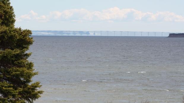 Have you ever seen the Confederation bridge look like this?  It's exactly how it looked from John and Linda O'Keefe's deck at noon yesterday.