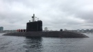 HMCS Windsor, one of Canada's four Victoria-class submarines, heads out the harbour in Halifax on Thursday, May 26, 2016. (Todd Battis / CTV News)