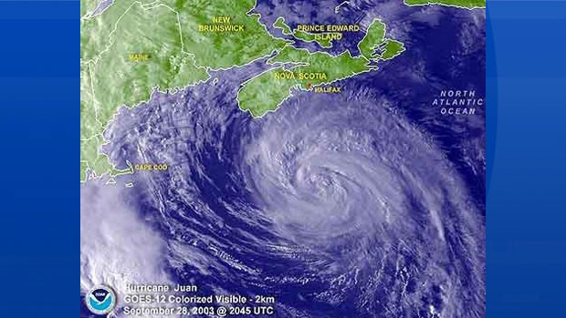 Visible satellite image of Hurricane Juan off our coast, Sept 28th 2003