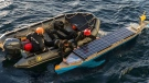 Navy officials say HMCS St. John's made a slight diversion early Wednesday while sailing to Newfoundland and Labrador to pluck an unmanned solar-powered kayak out of the water. (@RCN_MARLANT/Twitter)