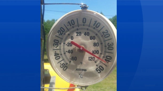 Sarah Zwicker took this photo of her thermometer just after noon Thursday in Camperdown NB! With the humidity it probably felt even warmer than that!